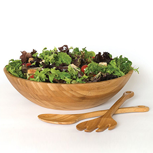 Houzz bamboo salad bowl with serving set photo