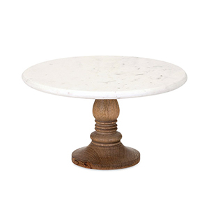 Houzz marble cake stand wtih a wooden base photo