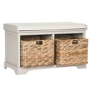 Light gray storage bench with two wicker bins from Houzz photo