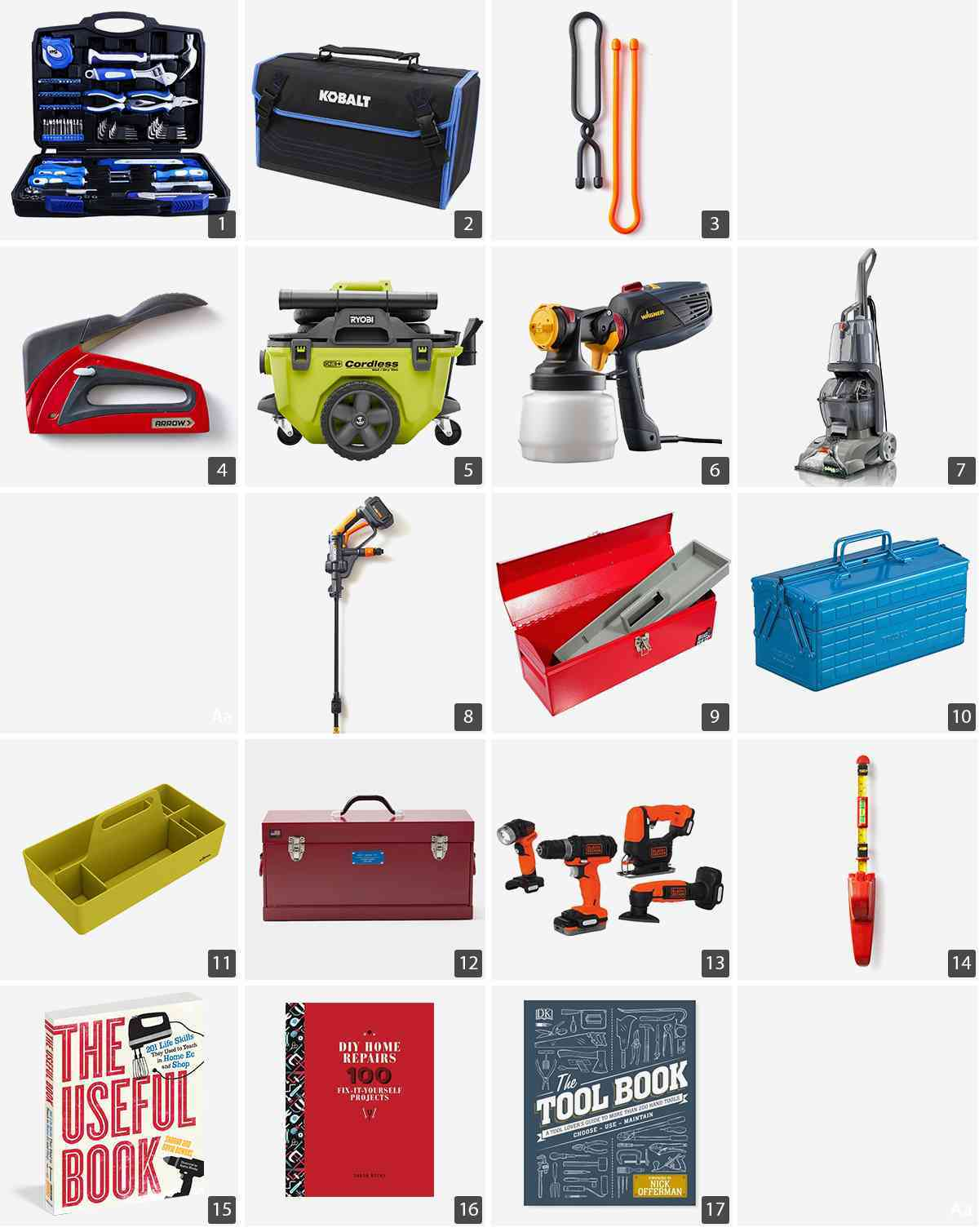 Collage of tools including kits, vacuums, boxes, and books photo