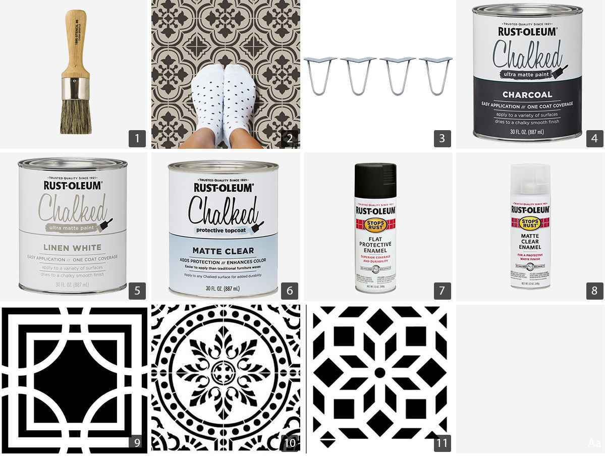 Collage of Rust-Oleum paints, black and white stencils, and a stencil brush photo