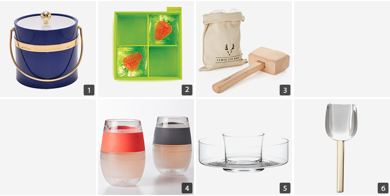 Collage of entertaining products including a blue ice bucket, green ice tray, freeze wine cups, and ice scoop photo