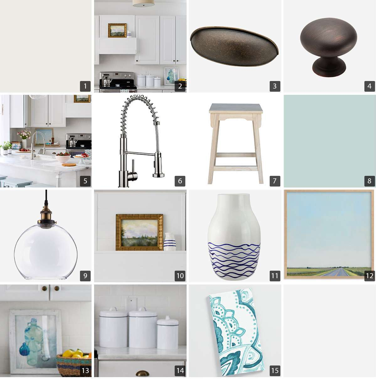 Collage of kitchen products including hardware, cabinets, sink faucet, and decor photo
