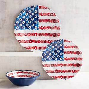American flag melamine plates and bowl with floral accents photo