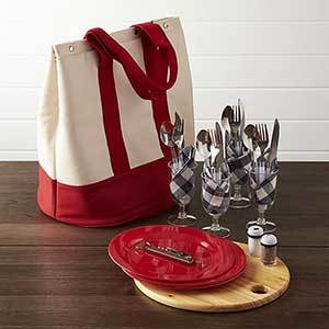 Picnic tote set with canvas bag and place settings for four photo