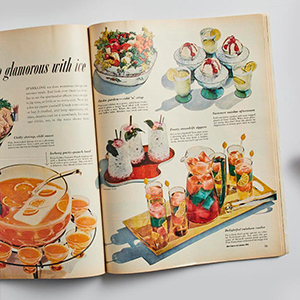 Old Better Homes & Gardens magazine page featuring ice cream photo