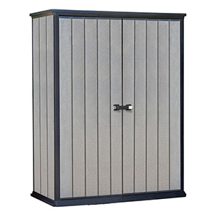Gray and black storage shed from Houzz photo