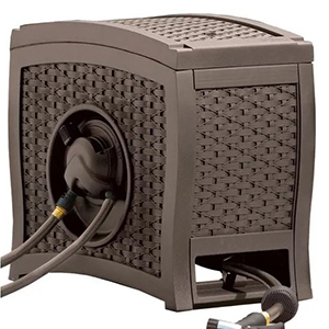 Brown woven hose reel photo