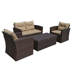 4-piece outdoor patio set including a loveseat, two chairs, and a coffee table photo