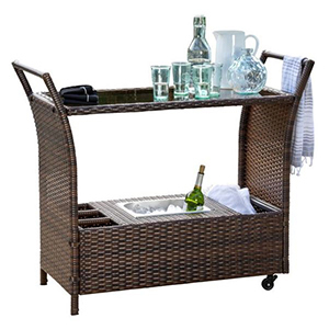 Brown wicker bar cart with two shelves photo