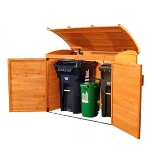 Wooden storage shed with doors and an overhead door photo