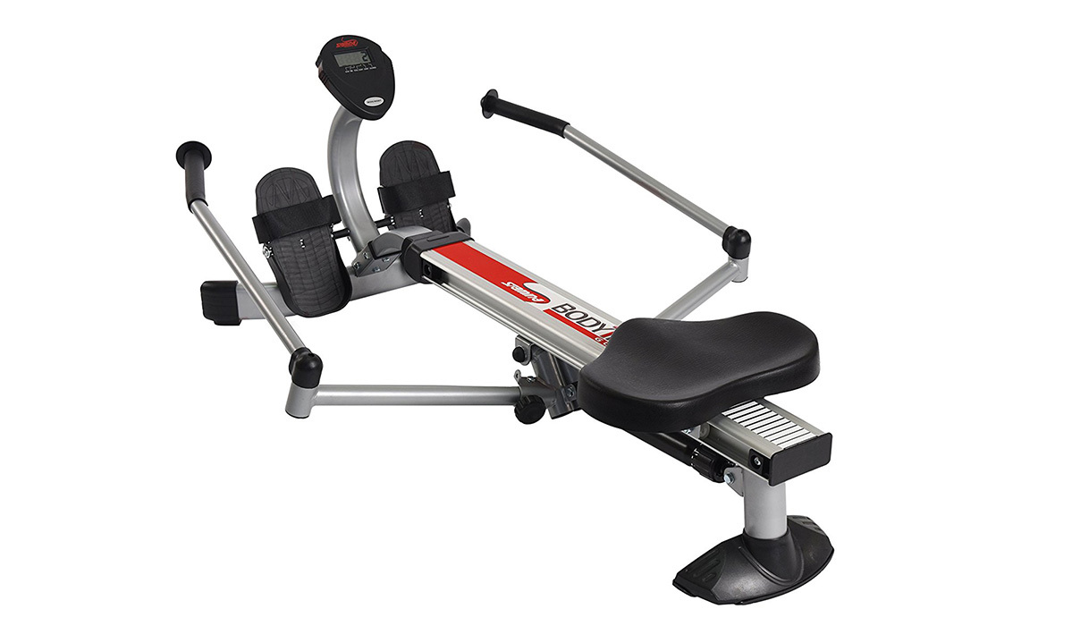 Black and silver Stamina Body Trac Glider 1050 Rowing Machine with foldable arms photo
