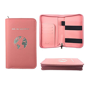 Light pink passport holder shown in three different ways featuring a phone charging station photo