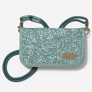 Light blue with a design crossbody travel wallet from Eddie Bauer photo