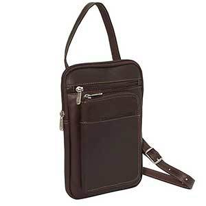 Dark brown leather crossbody travel wallet with shoulder and crossbody strap photo