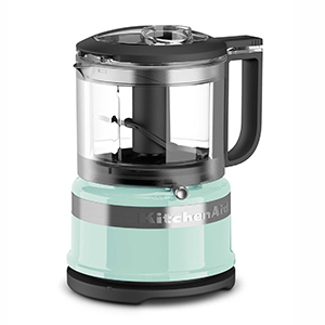 KitchenAid Food Processor with vintage baby blue base and black detailing photo