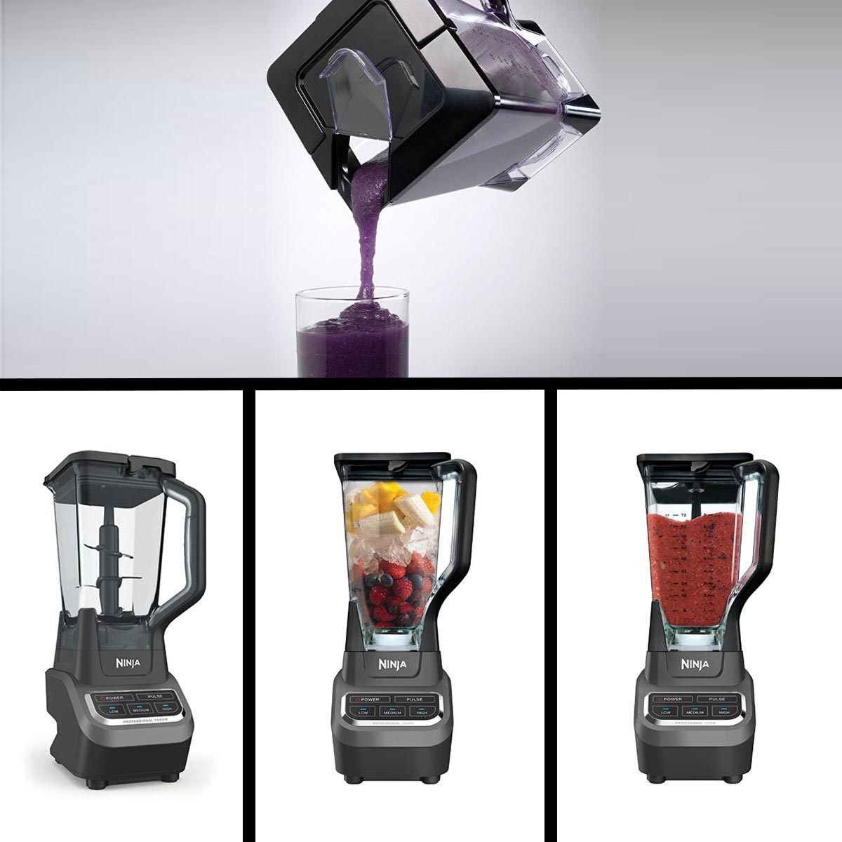 Collage of the Ninja Professional Blender making and pouring a fruit smoothie. photo