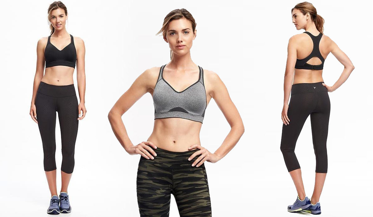 Three photos of a woman wearing the high support racerback sports bra from Old Navy with capri leggings. photo