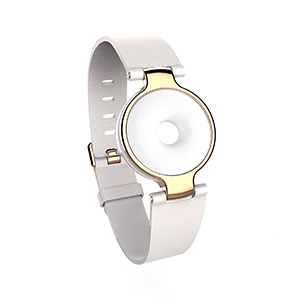White activity tracker with circle face and adjustable wrist strap from Amazon photo