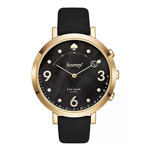 Black and gold smart watch with a black face with large numbers from Kate Spade photo