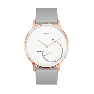 Nokia Steel watch with white face, rose gold accent, and gray silicone band from Amazon photo