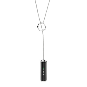 Silver lariat necklace that holds the Fitbit Flex 2 inside with a long structure photo