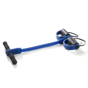 Blue resistance band with two black grippers at the end for your feet and handles at the top. photo