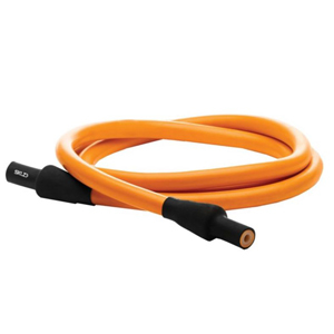 Orange training cable in a coil with black handles on each end. photo