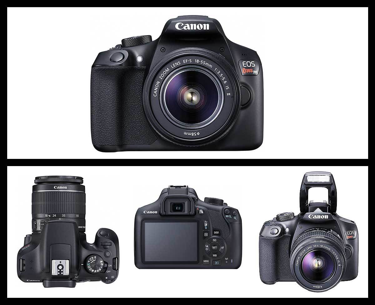 Compilation of four different angles (front on, top, back, flash) of the Canon EOS Rebel T6 Camera from Amazon photo