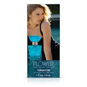 Drew Barrymore's Flower Cosmetics Turquoise Perfume in a blue and black box photo