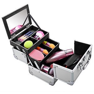 A makeup organizer in a Box with several compartments filled with beauty products photo