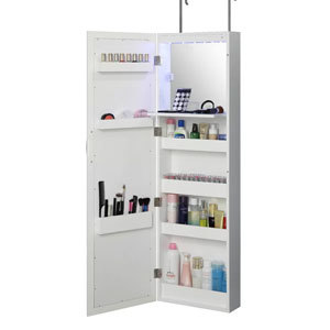 Mirror with built-in makeup organizer from Wayfair photo