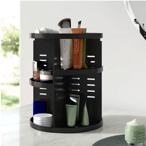 A rotating makeup organizer in black from Wayfair photo