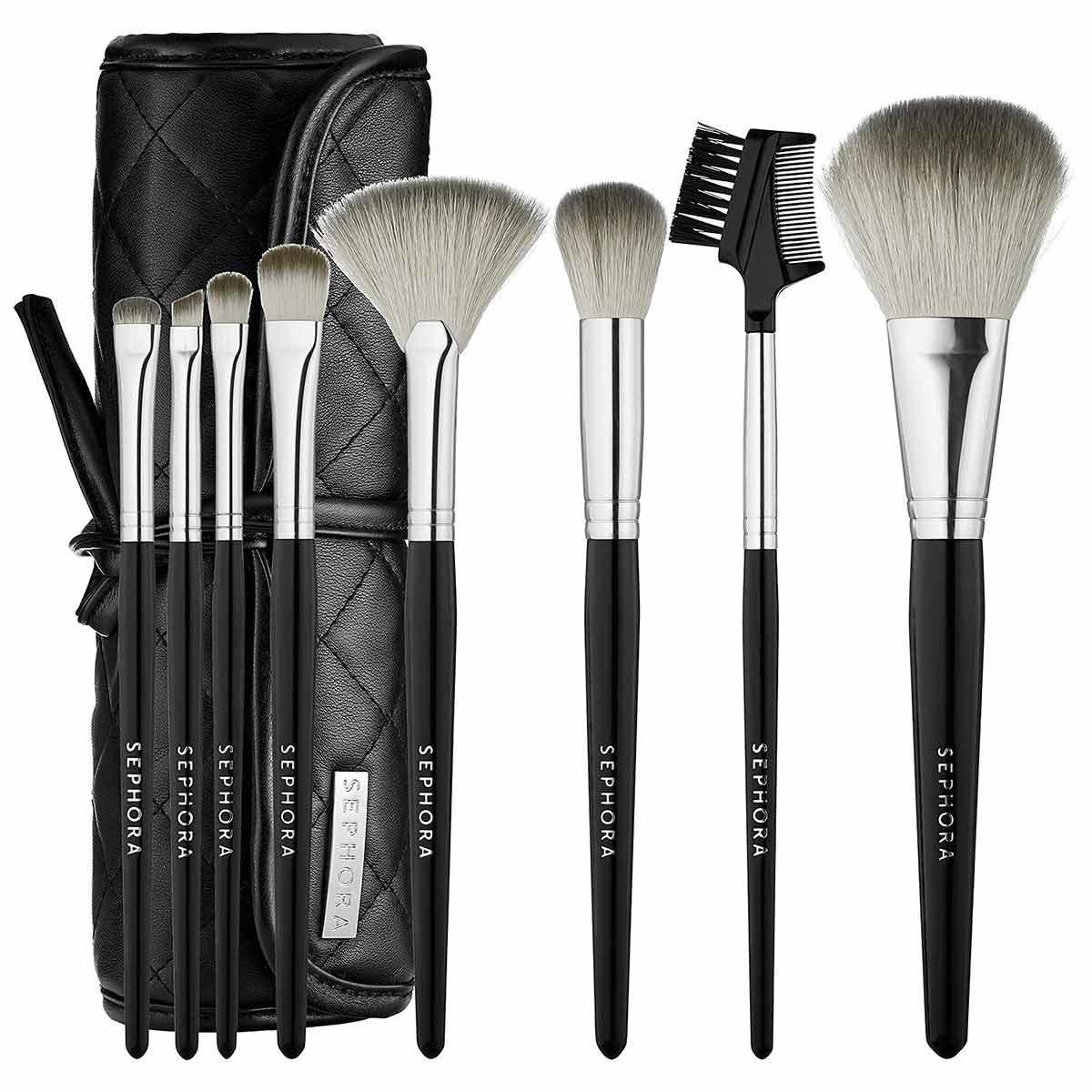 Sephora's Ready to Roll Brush Set in black and white including 10 different makeup brushes photo