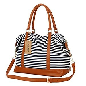 White-and-navy striped weekender bag with brown leather straps and bottom photo