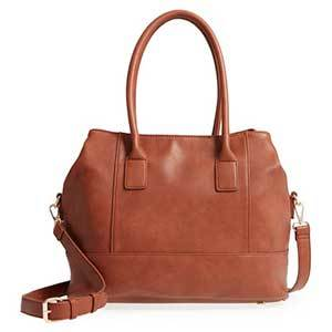 Faux-leather weekender tote in tan photo