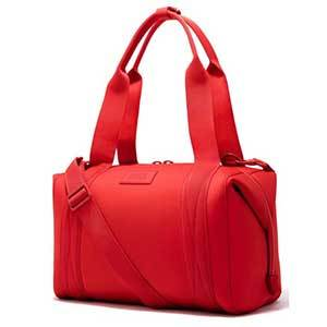 Bright red neoprene duffel bag by Dagne Dover photo