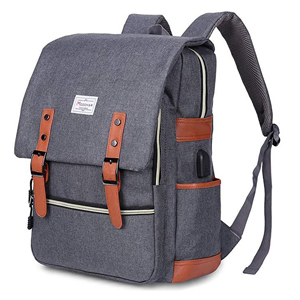 Gray laptop backpack with USB port from Amazon photo
