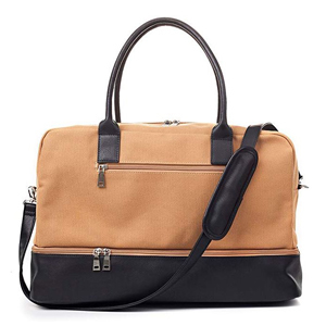 Tan and black canvas weekender bag from Amazon photo