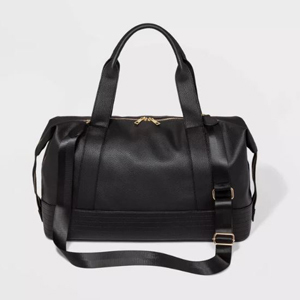 Black faux leather weekender bag from Target photo