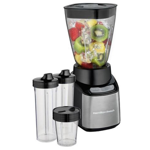 Hamilton Beach blender with fruit and ice inside the pitcher with two large to-go cups and a small to-go cup. photo