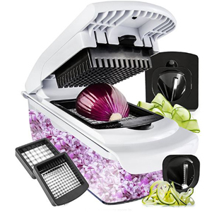 Vegetable chopper, slicer, and spiralizer chopping an onion. photo