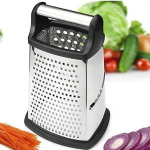 Black and stainless steel box cheese grater with four sides. photo