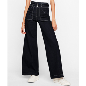 2bc60e387f1 If You re Tall  Super High Waisted Contrast Stitch Stretch Wide Leg Jeans