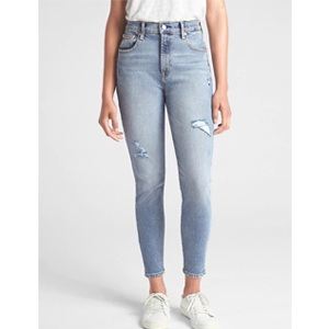Gap high-rise light wash jeans photo