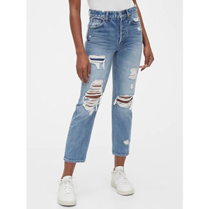 High-waisted destructed jeans from Gap photo