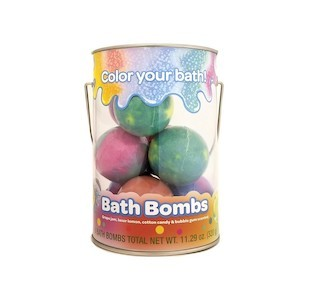 Clear cylinder filled with colorful tie-dye crayola bath bombs for kids photo