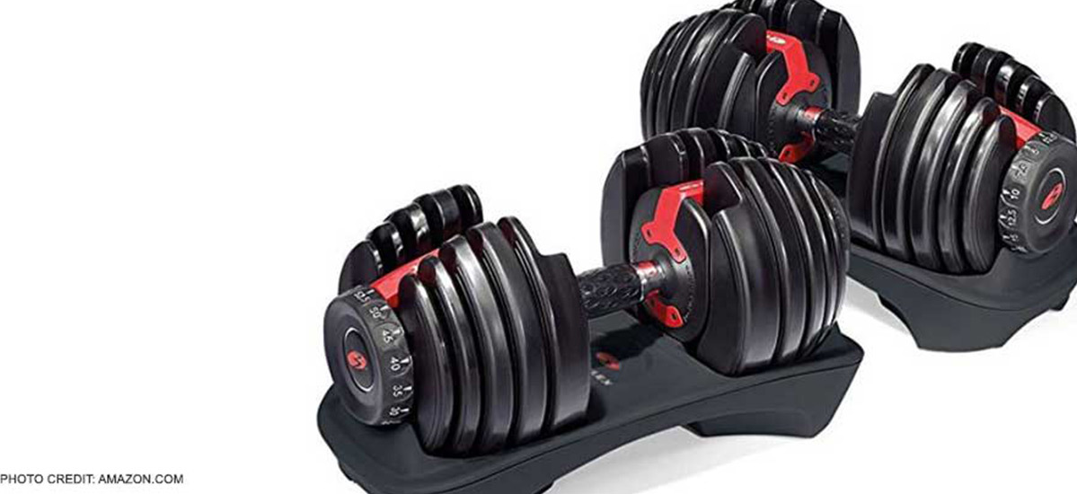 Black with red accents Bowflex SelectTech 552 Adjustable Dumbbells from Amazon