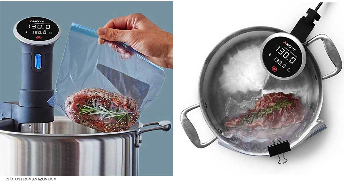 Seasoned steak in a bag placed in water with sous vide cooker photo