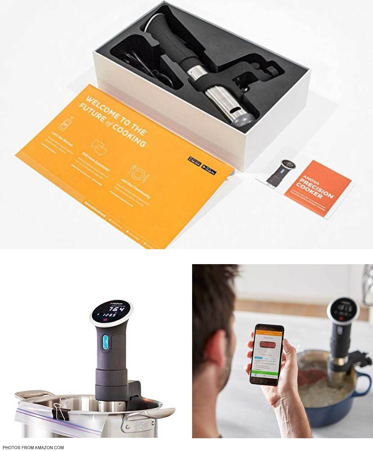Collage of Anova Bluetooth Sous Vide in packaging, in a stock pot, and being controlled by smartphone photo